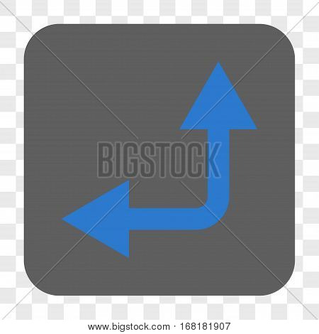 Bifurcation Arrow Left Up interface toolbar button. Vector icon style is a flat symbol in a rounded square button blue and gray colors chess transparent background.