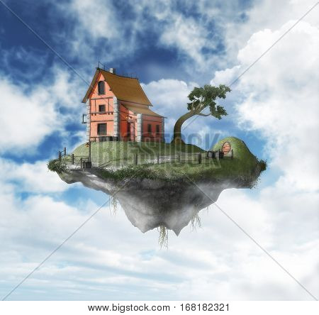 3D painting of a house on an island floating in the sky