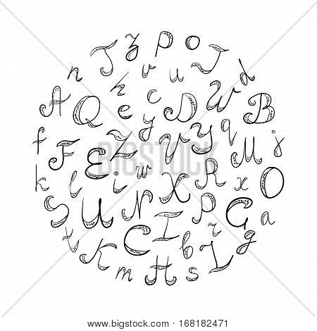 Hand Drawn Doodle Font. Children Drawings of Black Scribble Alphabet Arranged in a Circle. Vector Illustration.