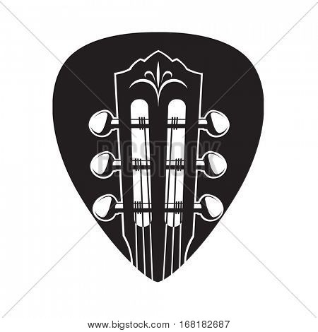 abstract image of guitar neck with black pick