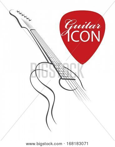 monochrome abstract image of guitar with red pick