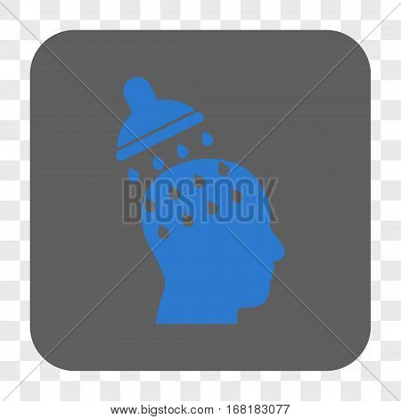 Brain Washing interface toolbar button. Vector icon style is a flat symbol inside a rounded square button blue and gray colors chess transparent background.