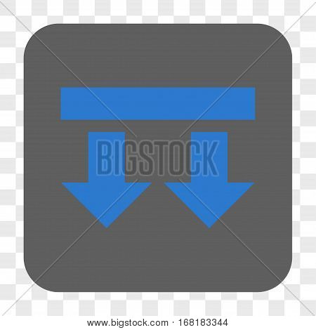 Bring Down interface toolbar button. Vector icon style is a flat symbol inside a rounded square button blue and gray colors chess transparent background.