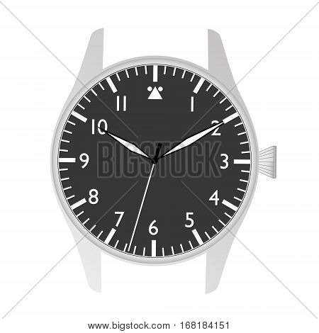 Simple Modern Sport Pilot Style Black Watch Case And Dial Object Eps10