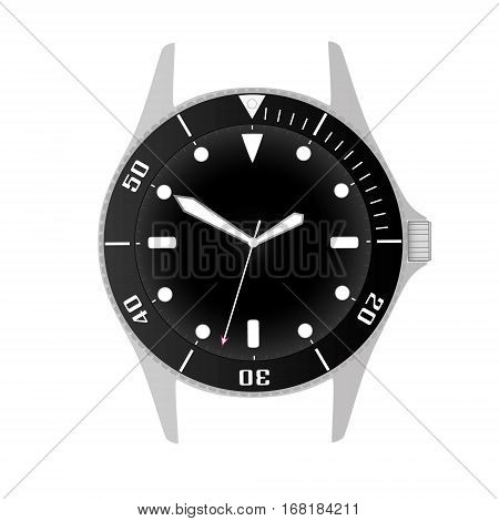 Simple Modern Sport Divers Style Black Watch Case And Dial Object Eps10