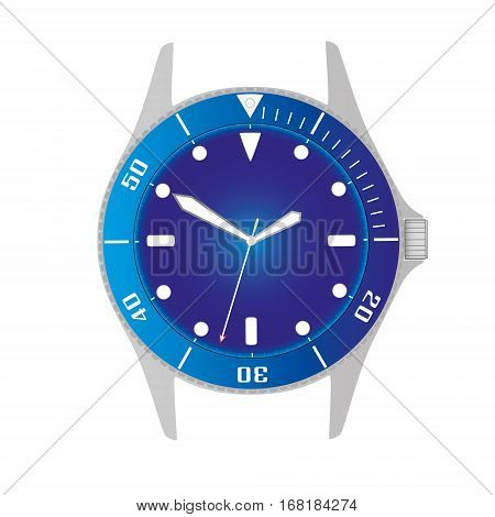 Simple Modern Sport Divers Style Blue Watch Case And Dial Object Eps10
