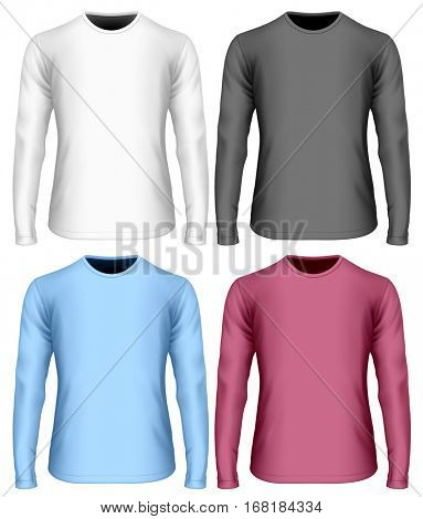 Men's long sleeve t-shirt (front view). Black, white and color variants of long-sleeved t shirt. Vector illustration. Fully editable handmade mesh.