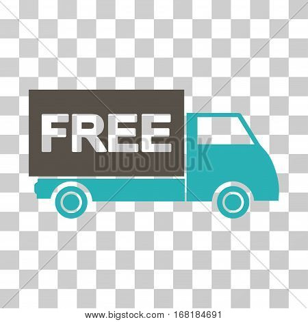 Free Shipment icon. Vector illustration style is flat iconic bicolor symbol grey and cyan colors transparent background. Designed for web and software interfaces.