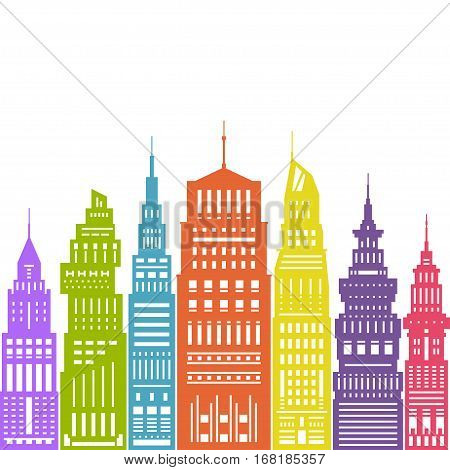 Colorful Modern Big City with Buildings and Skyscraper ,Architecture Megapolis, City Financial Center ,Flat Design ,Architecture, Concept Real Estate
