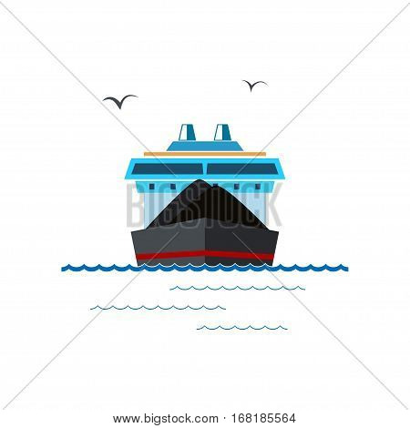 Front View of the Dry Cargo Ship Isolated on White ,Industrial Marine Vessel is Transporting Coal and Ore ,International Freight Transportation