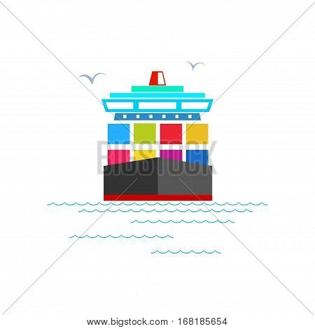 Front View of the Cargo Container Ship Isolated on White, Industrial Marine Vessel with Containers on Board ,International Freight Transportation