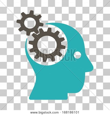 Intellect Gears icon. Vector illustration style is flat iconic bicolor symbol grey and cyan colors transparent background. Designed for web and software interfaces.