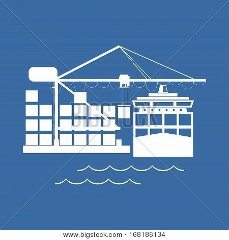 Cargo Container Ship at the Dock Isolated on Blue ,Unloading Containers from a Cargo Ship in a Seaport with Cargo Crane, International Freight Transportation