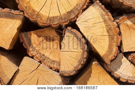 Pile of well chopped firewood - close up shot