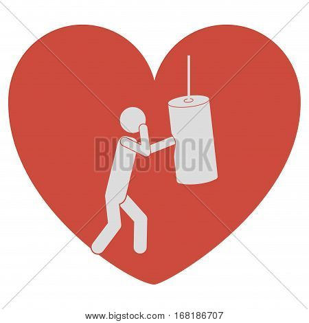 heart shape with pictogram man knocking bag weight vector illustration