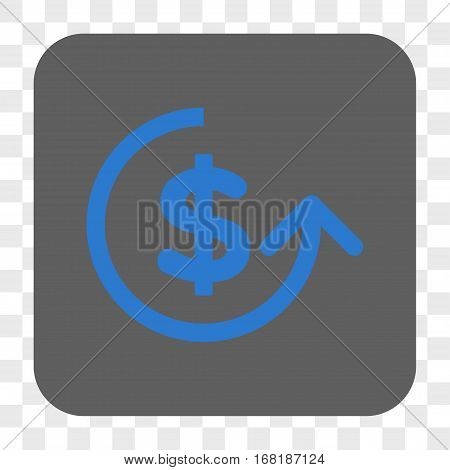 Chargeback interface toolbar button. Vector icon style is a flat symbol inside a rounded square button blue and gray colors chess transparent background.