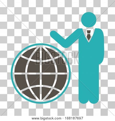Planetary Manager icon. Vector illustration style is flat iconic bicolor symbol grey and cyan colors transparent background. Designed for web and software interfaces.