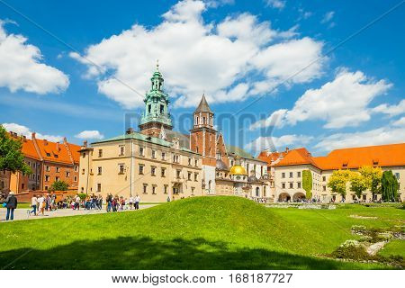 Krakow, Poland - June 08, 2016: Tourists Visiting Wawel Royal Castle And Cathedral In Krakow, Poland