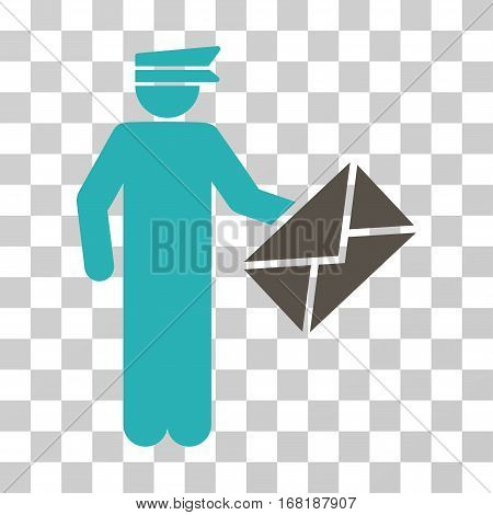 Postman icon. Vector illustration style is flat iconic bicolor symbol grey and cyan colors transparent background. Designed for web and software interfaces.