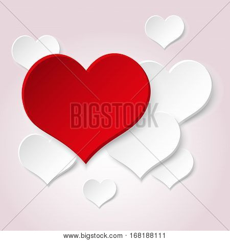 White Valentine Hearths From Paper And One Big Red Heart Eps10