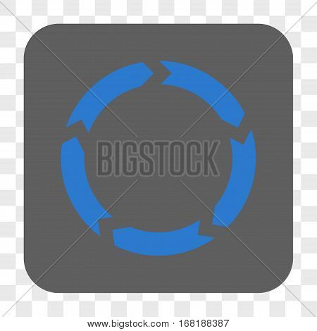 Circulation interface toolbar button. Vector icon style is a flat symbol inside a rounded square button blue and gray colors chess transparent background.
