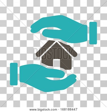 Realty Insurance icon. Vector illustration style is flat iconic bicolor symbol grey and cyan colors transparent background. Designed for web and software interfaces.