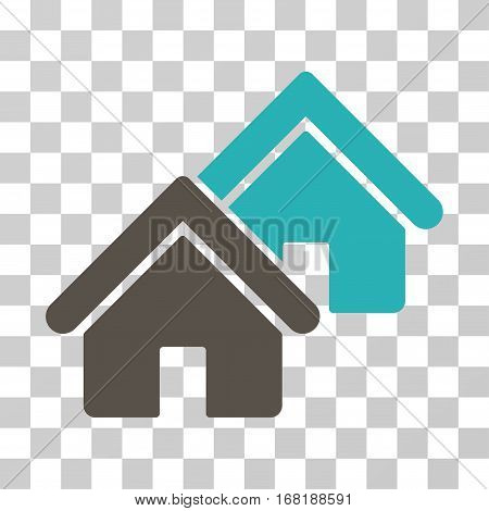 Realty icon. Vector illustration style is flat iconic bicolor symbol grey and cyan colors transparent background. Designed for web and software interfaces.