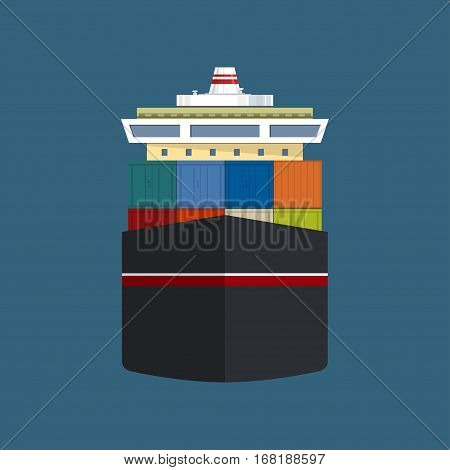 Front View of the Vessel, Cargo Container Ship, International Freight Transportation, Vessel for the Transportation of Goods