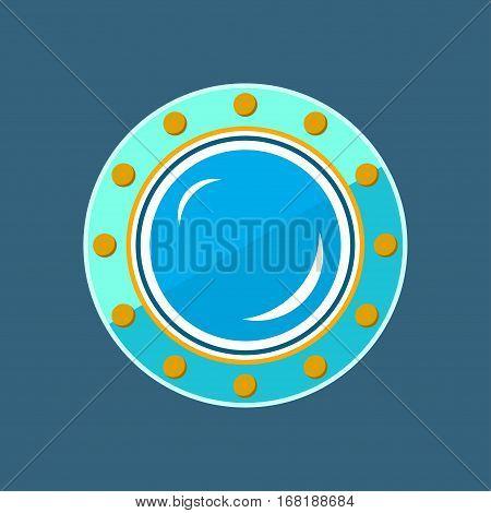 Round Ship Porthole, Shipboard Window on Blue Illustration
