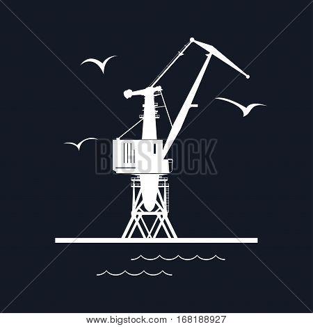 Marine Dockside Crane, Port Cargo Crane Isolated on Black Background