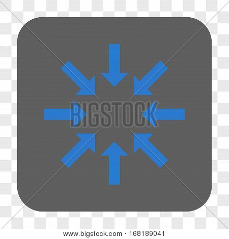 Collapse Arrows interface toolbar button. Vector icon style is a flat symbol inside a rounded square button blue and gray colors chess transparent background.