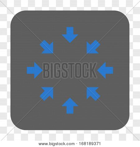 Compact Arrows interface toolbar button. Vector icon style is a flat symbol inside a rounded square button blue and gray colors chess transparent background.