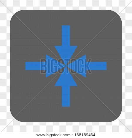 Compress Arrows interface toolbar button. Vector icon style is a flat symbol inside a rounded square button blue and gray colors chess transparent background.