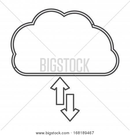 silhouette cloud with arrows in opposite direction