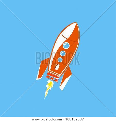 Red Rocket Spaceship Isolated on Blue Background