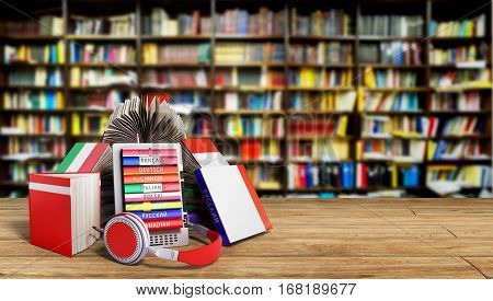 E-book Audio Learning Languages And Books In Library 3D Render Success Knowlage Concept