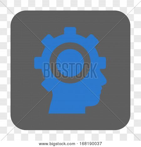 Cyborg Gear interface toolbar button. Vector icon style is a flat symbol on a rounded square button blue and gray colors chess transparent background.