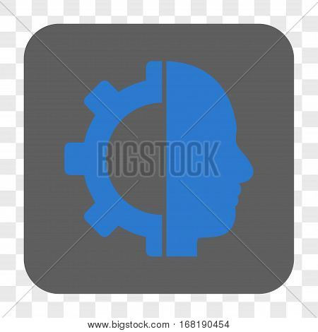 Cyborg Gear interface toolbar button. Vector icon style is a flat symbol inside a rounded square button blue and gray colors chess transparent background.