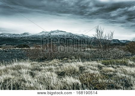Wilderness mountain countryside in Iceland during a stormy afternoon shows the barren look of a volcanic landscape and dry vegetation.