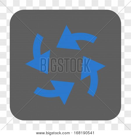 Cyclone Arrows interface toolbar button. Vector icon style is a flat symbol on a rounded square button blue and gray colors chess transparent background.