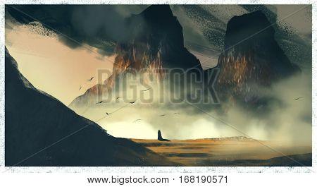Twin dale colored fantasy landscape digital concept art