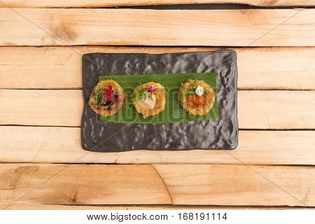 Potato Pancake with Sour on wooden table background top view