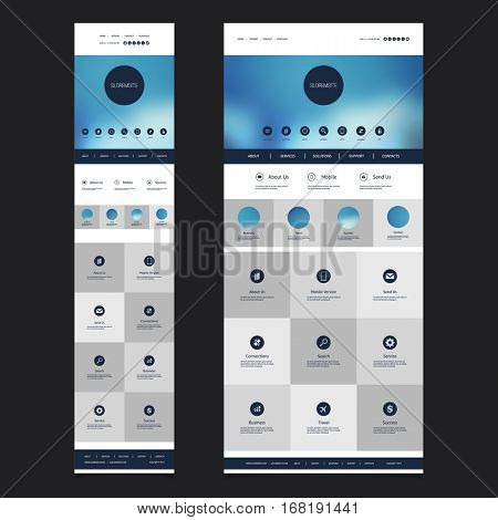 Responsive One Page Website Template with Blurred Header Background Design - Desktop and Mobile Version