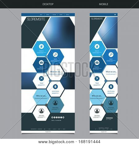 One Page Website Template with Blue Blurred Header Background Design, Hexagonal Pattern - Desktop and Mobile Version