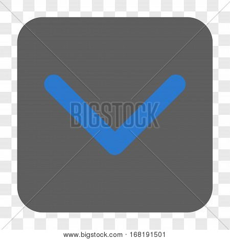 Direction Down interface toolbar button. Vector icon style is a flat symbol inside a rounded square button blue and gray colors chess transparent background.