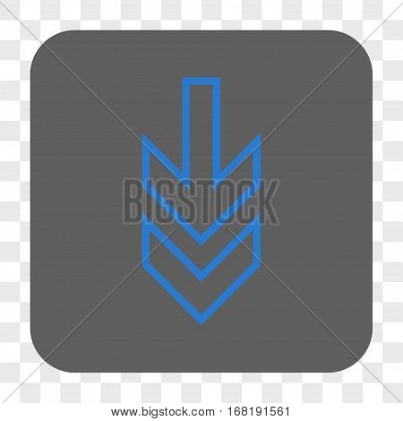 Direction Down interface toolbar button. Vector icon style is a flat symbol in a rounded square button blue and gray colors chess transparent background.