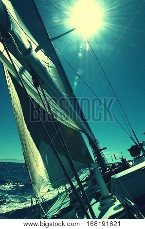 Rigging and Mast of Sailboat During Race