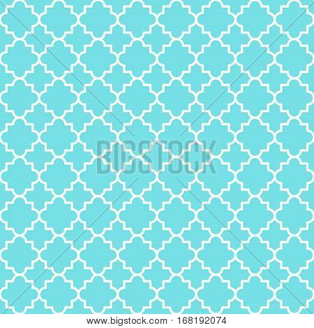 Traditional quatrefoil blue lattice pattern. Seamless vector background.