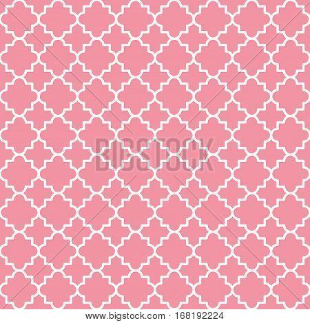 Traditional quatrefoil lattice pattern. Seamless vector background. Pink quatrefoil background.