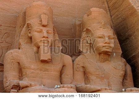 Close up of two pharoah heads in Abu Simbel Egypt